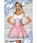 Premium Dirndl mit Bluse blau/rosa/weiß - AT70001
