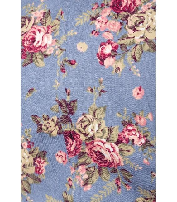 Premium Bluse & Dirndl von Dirndline aus edlem Denim mit Rosenprint und ausgestelltem Rockteil blau/rosa/weiß