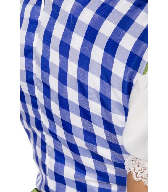 Klassisch traditionelles Minidirndl von Dirndline mit traditionellem Karomuster blau
