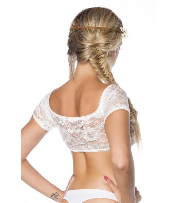 Dirndl-Bluse von Dirndline in weiß aus feiner Lochspitze und elastischen Abschlüssen