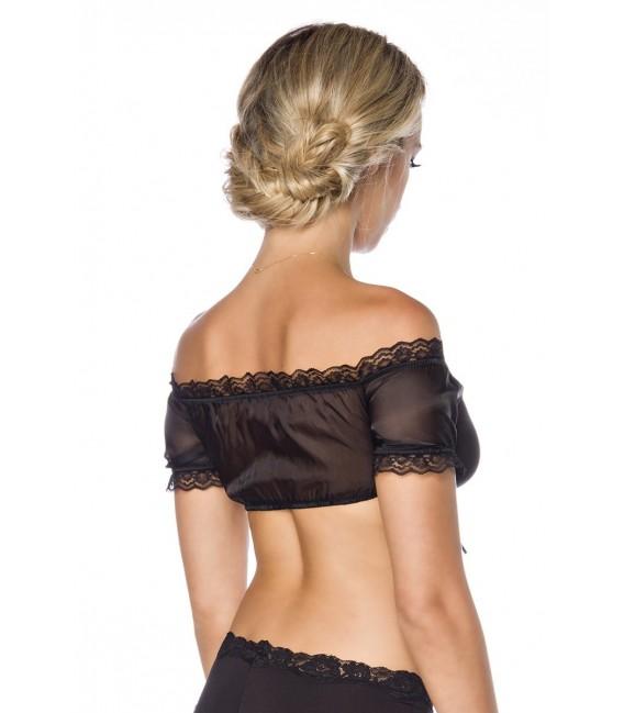 Leicht transparente Dirndl-Bluse von Dirndline in schwarz mit körperbetonter Passform und Raffungen an der Brust