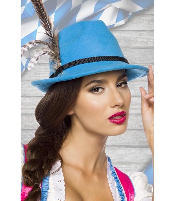 traditioneller Trachtenhut aus feinem Fliz von Dirndline lila blau