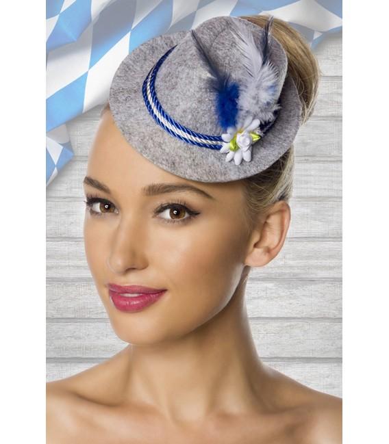 Minitrachtenhut aus meliertem Filz mit Kordelkopfband, Kunstblümchen und Federchen von Dirndline blau