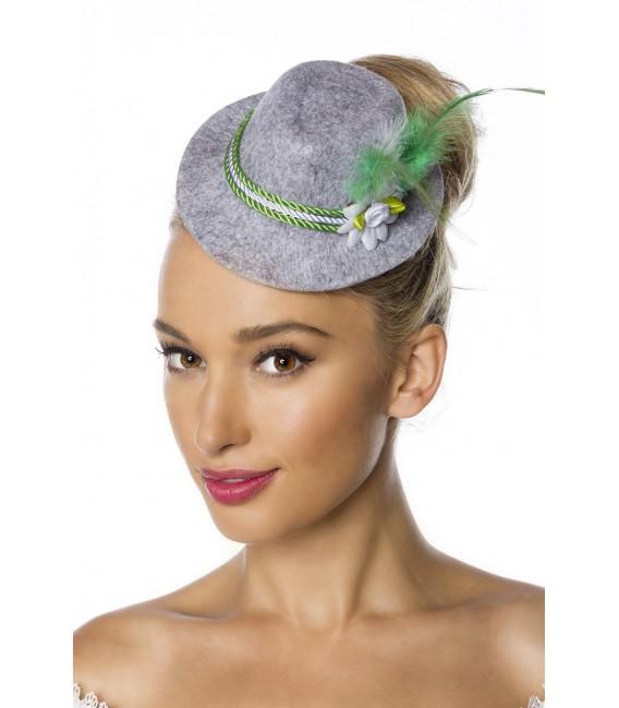 Minitrachtenhut aus meliertem Filz mit Kordelkopfband, Kunstblümchen und Federchen von Dirndline grün