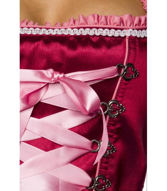 Premium Designer Dirndl mit Handstickereien in Wildseidenoptik, es hat ein ausgestelltes Rockteil mit passender Schürze von Dirn