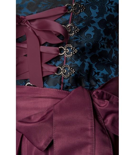 Luxus Designer Dirndl von Dirndline, aus Brokat mit Schürze und farblich abgesetzten Paspelierung und Rüschen am Ausschnitt