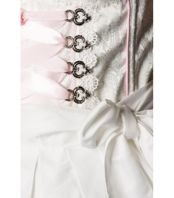 Trendiges Pastell-Dirndl von Dirndline aus schimmerndem Brokat mit Schürze und ein ausgestelltes Rockteil weiß