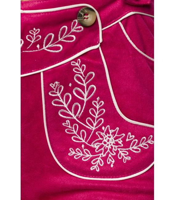 Traditionelle Trachtenshorts von Dirndline, mit detailreichen, kontrastierenden Stickereien und Eingriffstaschen im Vorderteil p