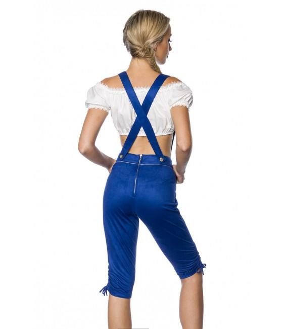Traditionelle Trachtenkniebundhose von Dirndline mit abnehmbaren Trägern blau