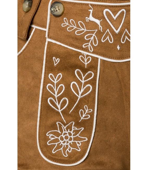 Traditionelle Trachtenkniebundhose von Dirndline mit abnehmbaren Trägern braun