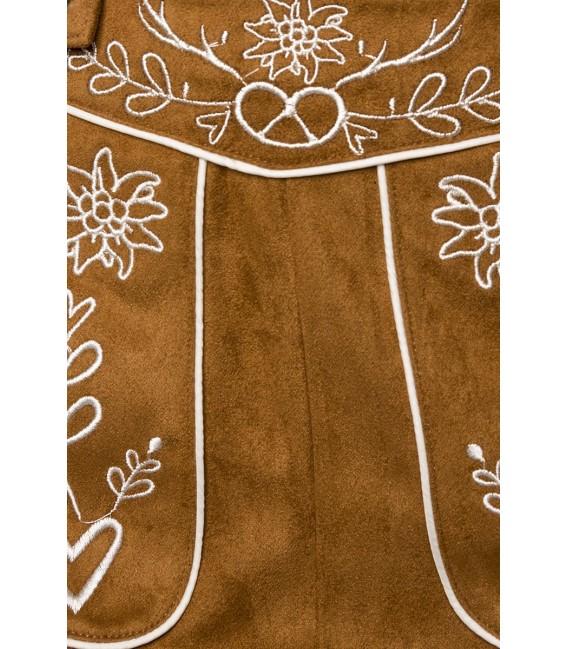Trachtenmini mit Stickereien von Dirndline, das sexy Trachtenröckchen ist in Velourslederoptik und mit detailreicher, kontrastie