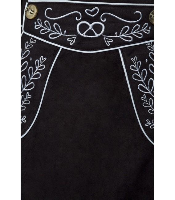 ausgestellter Trachtenrock von Dirndline in Velourslederoptik mit Stickereien, abnehmbare Träger schwarz
