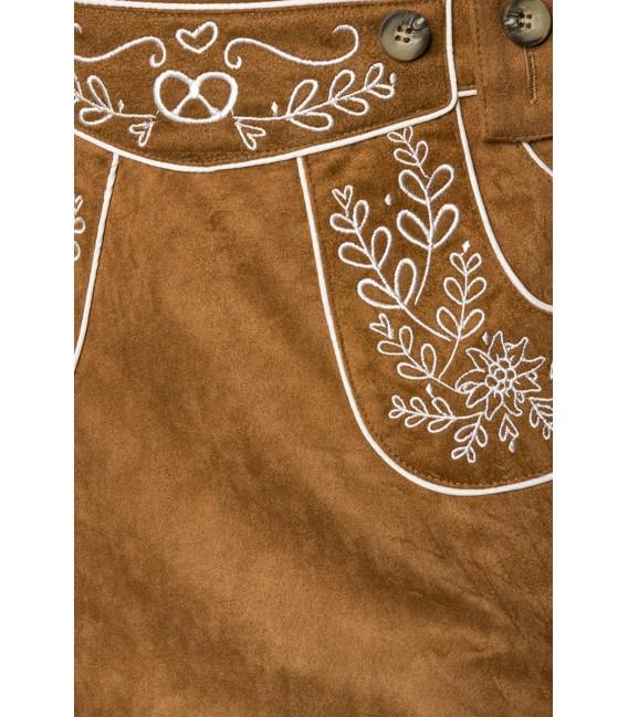 ausgestellter Trachtenrock von Dirndline in Velourslederoptik mit Stickereien, abnehmbare Träger braun