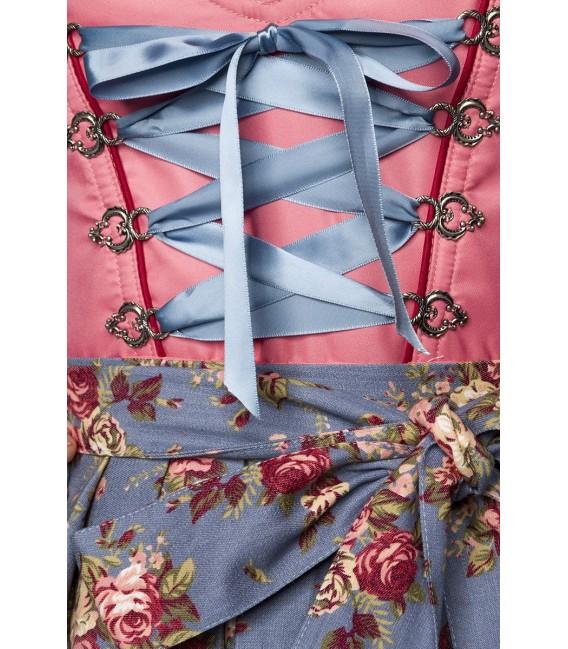Luxus-Dirndl von Dirndline mit Denim, einem herzförmigen Ausschnitt, ausgestelltem Rockteil und Zierschnürung rosa