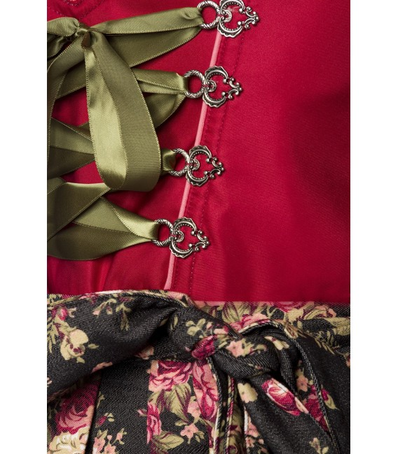 Luxus-Dirndl von Dirndline mit Denim, einem herzförmigen Ausschnitt, ausgestelltem Rockteil und Zierschnürung rot