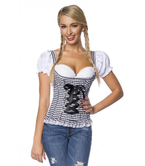 Trachtenmieder-Bluse von Dirndline mit integriertem Push-up schwarz