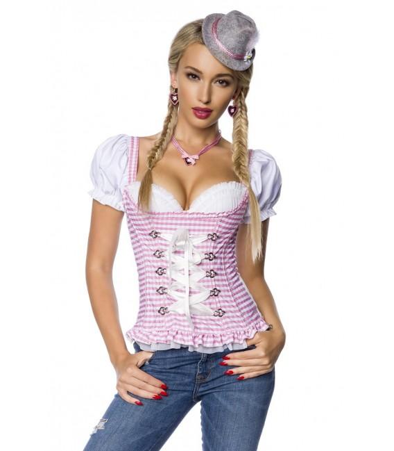Trachtenmieder-Bluse von Dirndline mit integriertem Push-up rosa