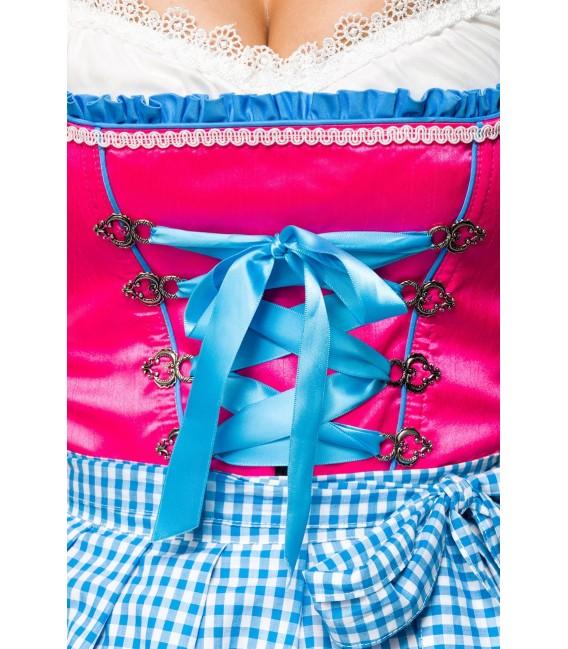 Farbenfrohes Dirndl mit ausgestelltem Rockteil und passender Karoschürze