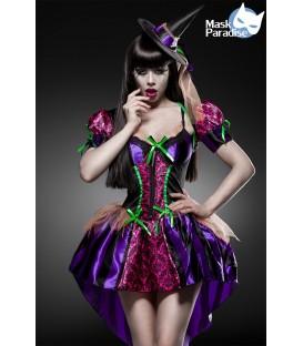 Hexen-Kostüm Sexy Witch Komplettset von Mask Paradise - Kleid mit ausgestellten Rock, einem Bolero, dem Hexen-Hut sowie einem St