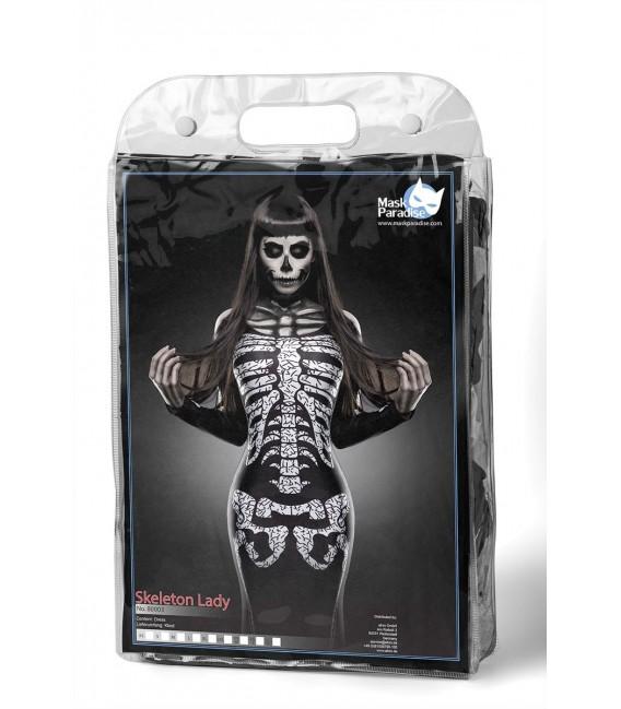 Skeleton Lady Kostüm, ein sexy Maxikleid mit Skelett-Print