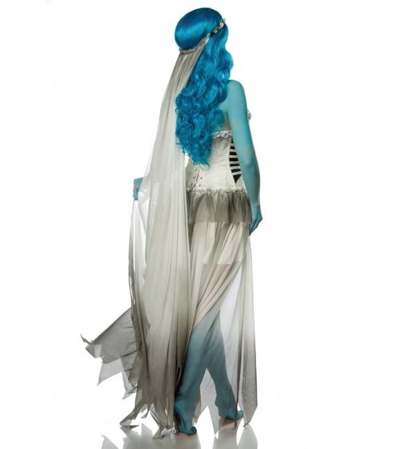 Corpse Bride Kostüm Komplettset von Mask Paradise besteht aus einem Corsagenkleid mit herzförmigem Dekolleté, einem Blumenhaarba