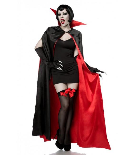 Sexy Vampire Kostüm Komplettset aus einem Cape mit großem Stehkragen und Öffnungen für die Arme und ein eng anliegendes Miniklei