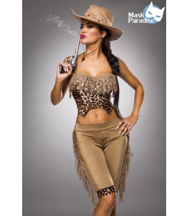 Cowgirl Kostüm von Mask Paradise bestehend aus einem kurzen Top mit Fransen und Leo-Print, sowie Leggings mit seitlichen Fransen