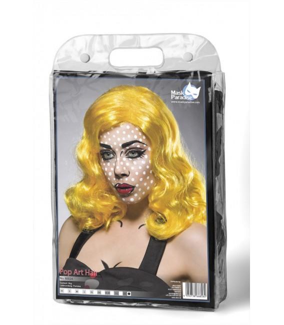Pop Art Girl Perücke in kräftigem Farbton und schulterlanges, gewelltes Haar von Mask Paradise