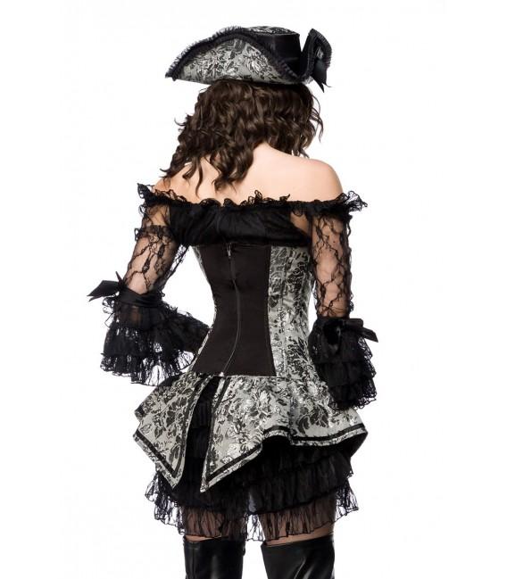 mehrteiliges Hot Pirate Kostüm Komplettset von Mask Paradise grau