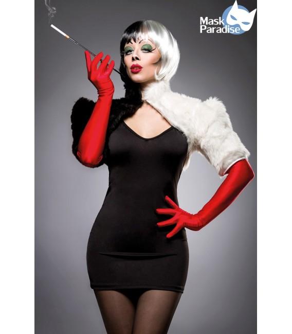 Cruel Lady Kostümset von Mask Paradise, bestehend aus einem Mini-Cape aus Plüsch, einem Minikleid aus Jersey und ein paar langen