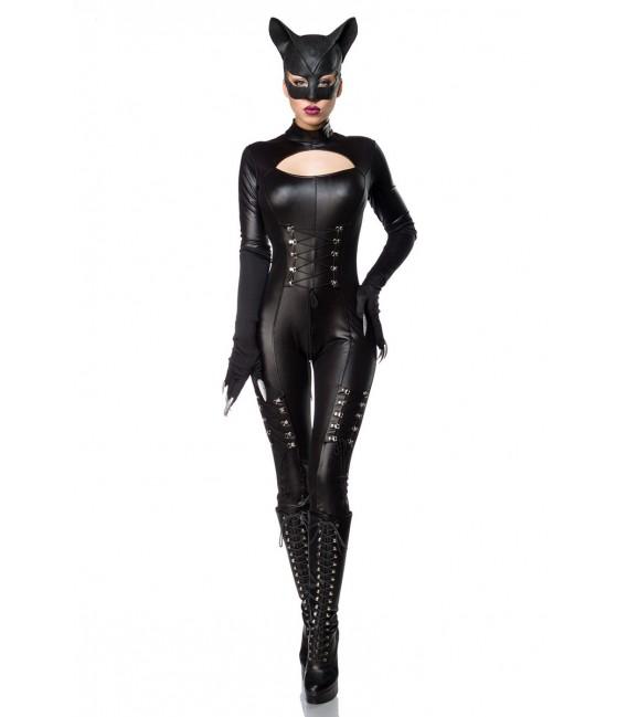 Hot Catwoman Kostüm Komplettset von Mask Paradise besteht aus einem heißen Wetlook-Overall mit langen Armen lange Krallen-Handsc
