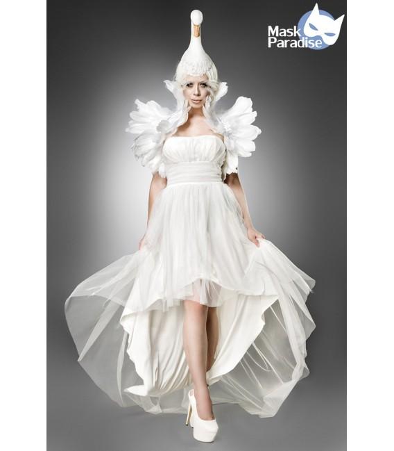 """Schwanenkostüm """"White Swan"""" Kostümset von Mask Paradise, besteht aus einem Kleid, einem Federbolero und Schwanenkopfkappe"""