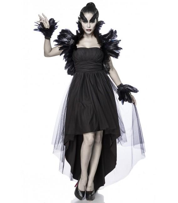 Krähenkostüm - Crow Witch Kostümset von Mask Paradise, besteht aus einem Kleid, einem Federbolero und Federmanschetten Großbild