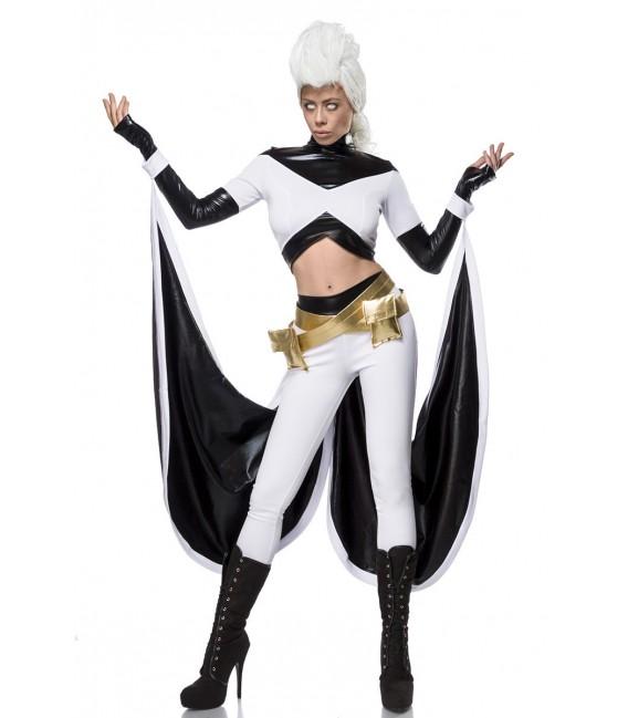 Heldinnenkostüm - Storm Heroine Kostümset von Mask Paradise, aus einem Longsleeve, einer High waist Leggings, dem Cape, sowie de