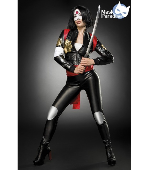 Suicide Samurai Kostümset von Mask Paradise, besteht aus einer Blouson Jacke in Lederoptik, einer High-Waist Hose und einem Sat