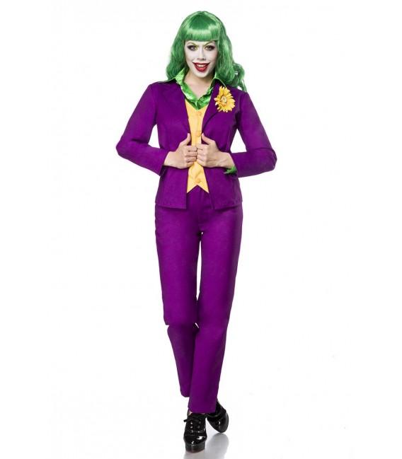 Lady Joker Kostümset von Mask Paradise, bestehend aus einem Blazer mit Weste, einer langärmligen Satinbluse und einer Hose