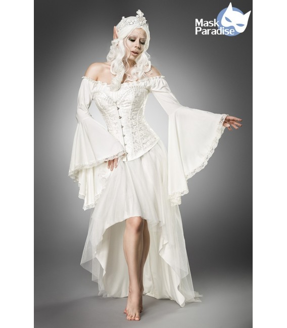 Elfenkostüm - mystische Elf Queen Kostümset von Mask Paradise besteht aus einer kurze Blusen, einer Corsage und einem Rock, mit
