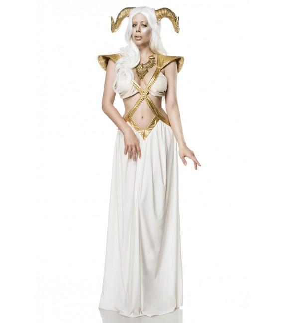 Feenkostüm Fantasykostüm - Golden Fairy Kostümset von Mask Paradise, besteht aus Kleid, Haarreif mit Widderhörnern und Kette