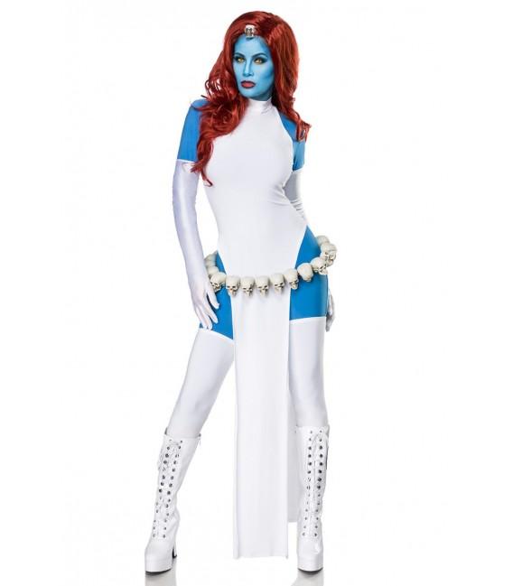 Comicfigur - Mystic Cosplay Kostümset von Mask Paradise besteht aus Catsuit, Kleid, Satinhandschuhe und Stockings, sowie Totenko