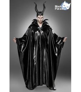 Fantasykostüm Maleficent Lord Kostüm Komplettset von Mask Paradise besteht aus Cape in Wetlook-Optik und Hörnermaske