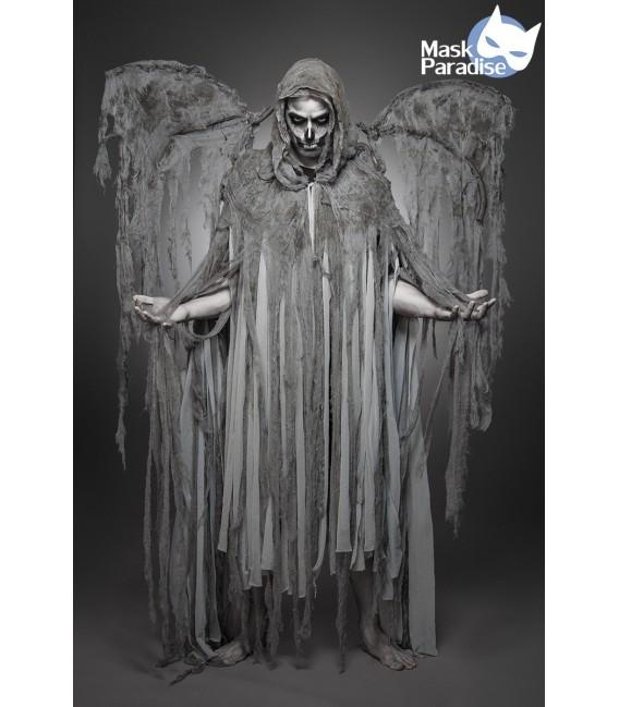 Todesengelkostüm -  Angel of Death Kostüm Komplettset Herren von Mask Paradise, besteht aus Fransencape mit Kapuze und Flügel au