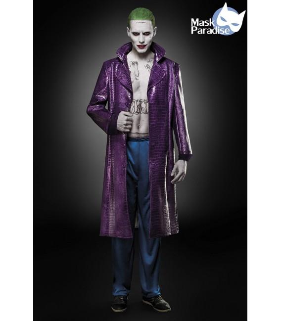 Filmfigur Suicide Joker Herren Kostüm von Mask Paradise, besteht aus einem langem Mantel in Krokoleder-Optik und lässiger Hose