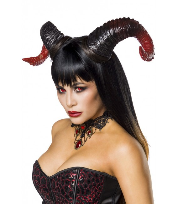 Teufelinkostüm Devil Lady Kostümset von Mask Paradise, bestehend aus Hörnern, Kette, Corsage, Handschuhe und Tutu