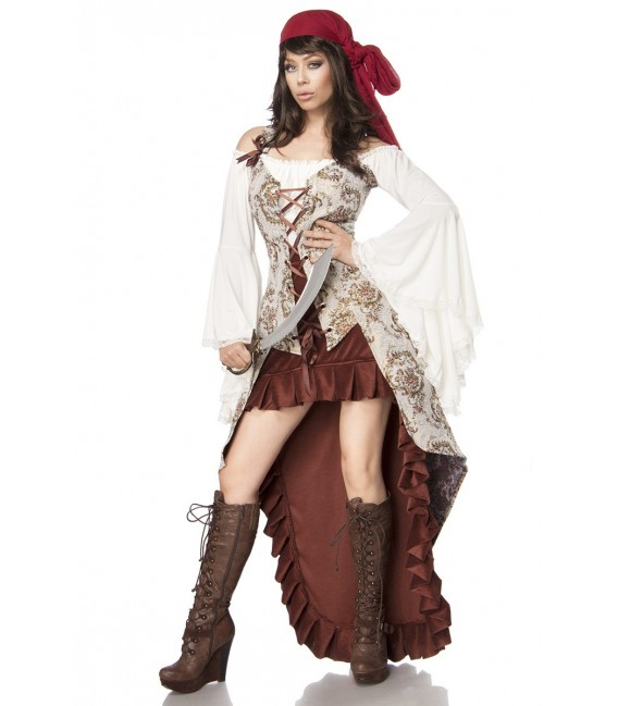 Piratenbrautkostüm Piratenkostüm - Kostüm Komplettset Pirate Bride von Mask Paradise besteht aus Weste, Kopftuch, Rock, Säbel un