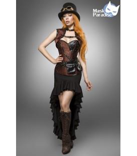 Steampunk Kostümset - Kostüm Komplettset Steampunk Lady von Mask Paradise besteht aus Rock, Corsage mit Bolero, Zylinder, Goggel