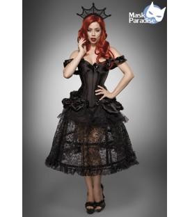 Gothic-Kostüm - Kostüm Komplettset Gothic Queen von Mask Paradise besteht aus Corsage, Überrock, Reifrock, Krönchen