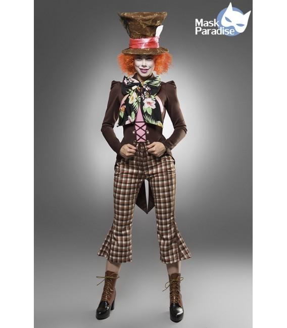Hutmacherkostüm - Kostüm Komplettset Crazy Hatter von Mask Paradise besteht aus Perücke, Hut, Feder, Hutband, Hutkarte, Fliege,