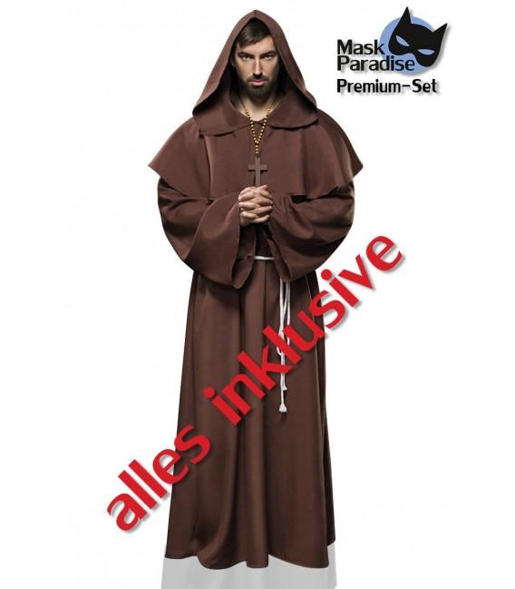 Mönch-Kostüm Komplettset Monk von Mask Paradise besteht aus einer Kutte, einem Gürtel und einer Kette
