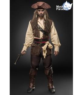 Piraten-Kostümset Captain Jack von Mask Paradise besteht aus Pistole, Hut, Kopftuch, Hemd, Weste, Hose, Beinstulpen, 2 Tücher, 3