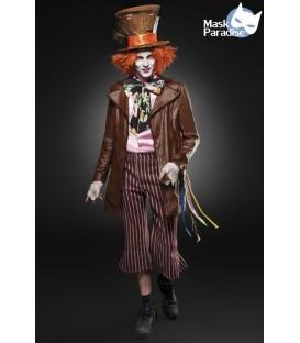 Hutmacher-Kostüm: Mad Hatter von Mask Paradise. detailreiche Kostümset mit Perücke, Fliege, Hut, Band, Federn, Hutkarte, Hemd, J